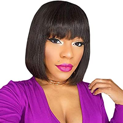 Short Bob Wigs with Bangs Human Hair Wigs None Lace Front Wigs Brazlian Straight Hair Machine Made Bob Wig for Black Women Natural color