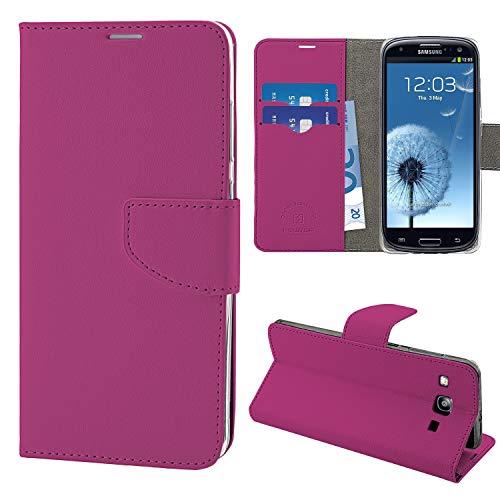 N NEWTOP Cover Compatibile per Samsung Galaxy S3 (i9300), HQ Lateral Custodia Libro Flip Chiusura Magnetica Portafoglio Simil Pelle Stand (Fucsia)
