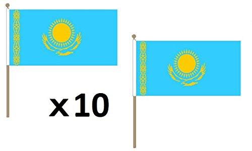 AZ FLAG Bandera de KAZAJISTÁN 45x30cm con Palo de Madera - Lote de 10 Bandera KAZAJA 30 x 45 cm