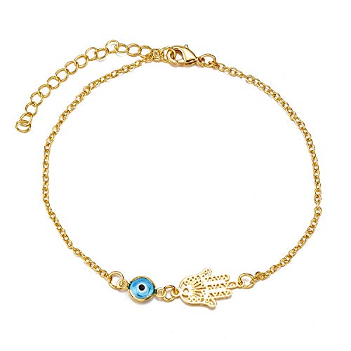 kelistom Evil Eye Hamsa Hand Charm Anklet for Women Teen Girls, Dainty Handmade Sideways Hanging Evil Eye Real 14K Gold / 18K Gold/Silver Ankle Bracelet Minimalist Jewelry
