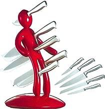Kitchen Knife Block Set, BGVIP Humanoid Tool Carrier Premium Stabbing Man Stainless Steel Knife Set Men are jerks -Pack of 5 (Red)