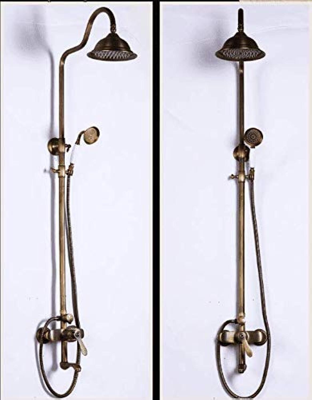 GFF Dusche Europische Antike Kupfer Dusche Duschset Aufzug Temperaturregelung Heies und kaltes Wasser Retro Duschkopf Handbrause Dusche Mischbatterie