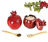 Salt Cellar Salt Box Salt Container Salt Pig Salt Bowl Salt Cellar With Lid Spoon Ceramic Pomegranate Shaped