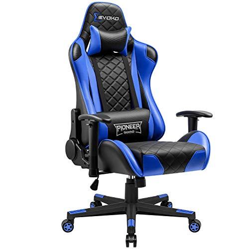 JUMMICO Gaming Stuhl Gamer Bürostuhl Ergonomischer Racing Drehstuhl Höhenverstellbarer Schreibtischstuhl mit verstellbaren Armlehnen (Blau)