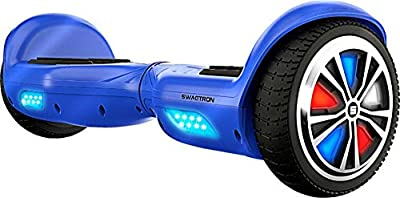 Swagtron Swagboard T882 LED Lithium-Free Hoverboard with Startup Balancing, Dual 250W Motors, Patented SentryShield Quantum Battery Protection, T882 Blue LED, One Size