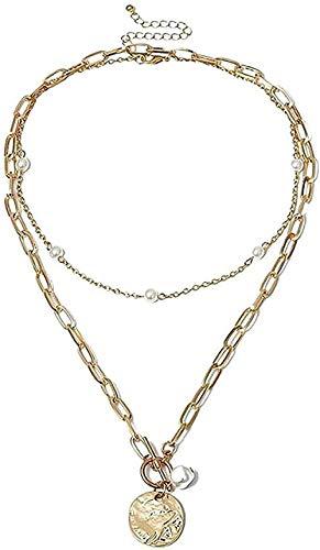 Collar Gótico Barroco Perla Colgante de Moneda Gargantilla Collar Para Mujer Boda Punk Perla Lariat Collar de Cadena Larga de Color Dorado Regalo de Joyería para Mujeres Hombres Collar de Regalo