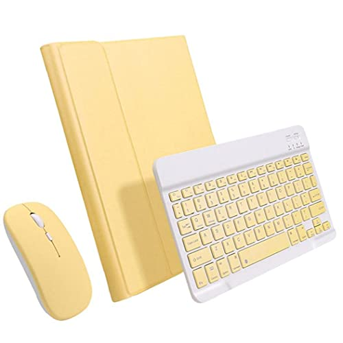 Conjunto de ratón del teclado de la caja del teclado con estuche protector compatible con iPad 10.9 pulgadas de accesorios de tableta amarillo
