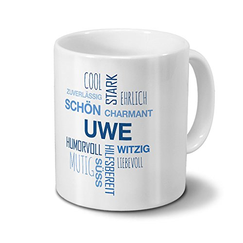 printplanet Tasse mit Namen Uwe Positive Eigenschaften Tagcloud - Blau - Namenstasse, Kaffeebecher, Mug, Becher, Kaffeetasse