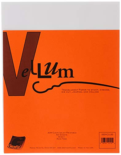 Grafix 30-Pound 8-1/2-Inch by 11-Inch Vellum Inkjet Printable, 50-Pack, Clear