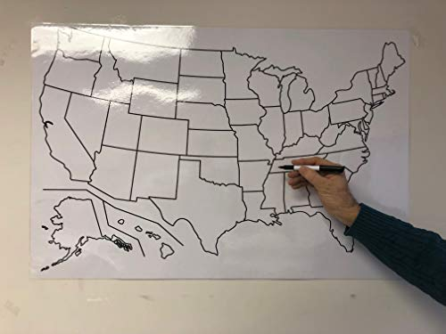 Copy King Blank US Map Laminated Dry Erase Poster, Reusable United States Map 24'x36'