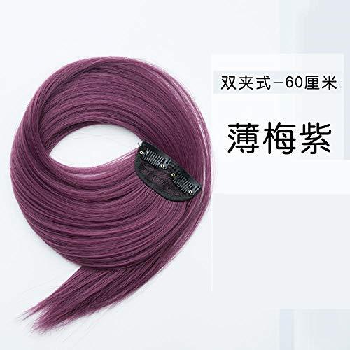 GAOWS Extensions de cheveux sans couture invisibles pour cheveux longs raides de la mode naturelle 23inch - Thin_plum_purple Fashion Haute Qualité Perruque pour Femme, Style Naturel Perruque Synthétiq