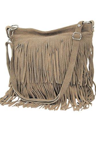 AMBRA Moda bolso de las señoras gamuza con refriega WL809 (Beige Oscuro)