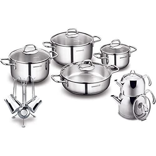 LIXUDECO Juego de sartenes Korkmaz Perla 16 piezas de acero dowry set-utensilios de cocina Set-Cocina-Cocina suministros