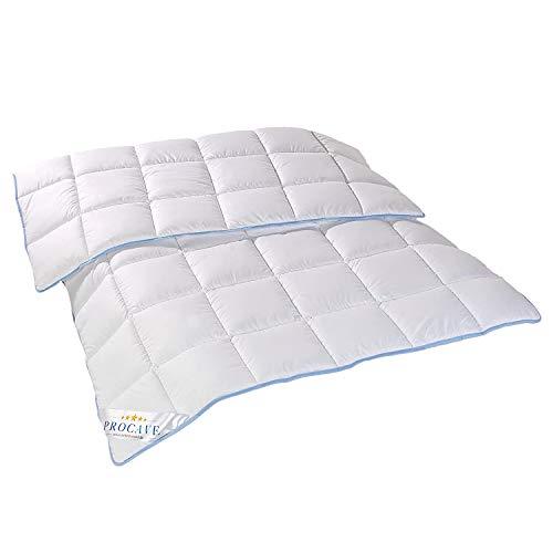 PROCAVE | TopCool Qualitäts-Bettdecke für das ganze Jahr | Entspannt schlafen - absorbiert Körperfeuchtigkeit | Atmungsaktive Steppdecke in weiß in 135x200 cm