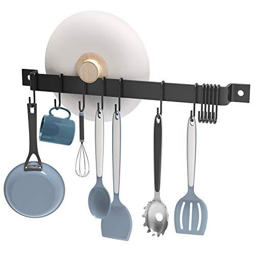 Nuovoware Köksredskapshållare, 16,3 tums vägg krok stång hängande skena med 15 krokar rostfritt järn köksreling köksstång pannhållare vägg organiserare för kök badrum sovrum, svart