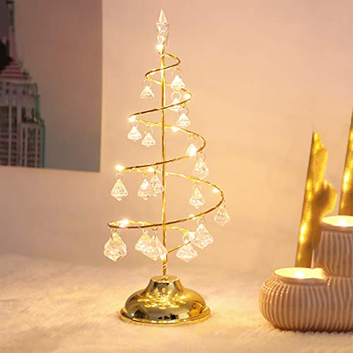 N-P Christmas String Lights,Crystal Christmas Tree Lights Copper Wire Night Lights Fairy Lights for Bedroom Patio Room Xmas Decor Indoor Christmas Tree Decorations Warm Gold White(12.9 x 5.1 inch)