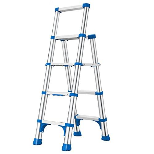 SUBBYE Escalera Telescópica Aluminio Un Tipo Escaleras De Extensión para Techos De Escaleras,Escalera Telescópica Plegable para Trabajo Pesado con Escalón Ancho Antideslizante,Soporta 200Kg