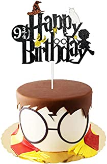 Uniceworld Double Sided Glitter Black Wizard Happy Birthday Cake Topper and Halloween Theme Cake Topper