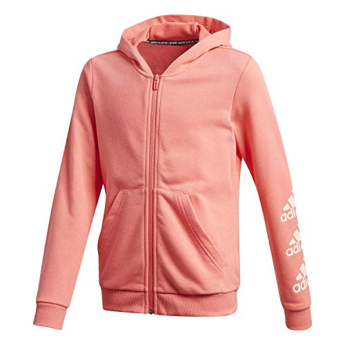 adidas Mädchen Sweatjacke Must Have BOS Full Zip Hoodie Semi Flash Red/Haze Coral 170