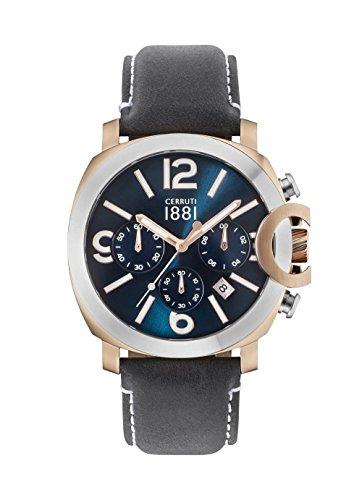 Cerruti 1881 Herren Chronograph Quarz Uhr mit Leder Armband CRA181SRS03BL