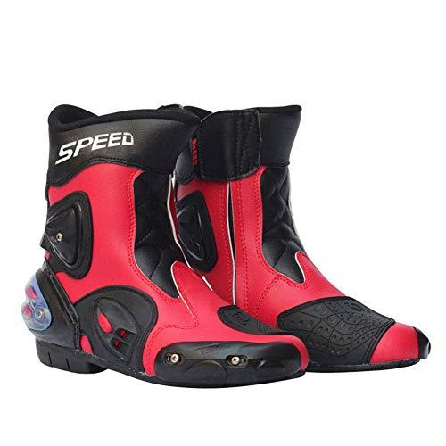 Sooiy Motocicleta Botas de Hombres Botas de Motocross Botas Cortas estilistas Slip Carrera Suave Impermeable,Rojo,43