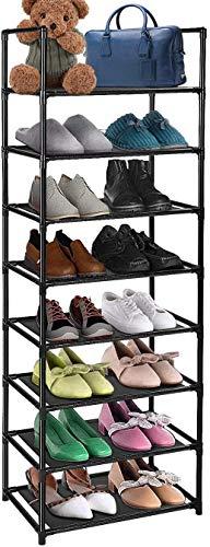 UrMsun Zapatero de 8 niveles 16 – 20 pares, resistente, de tela no tejida, organizador de zapateros, color negro (Negro)