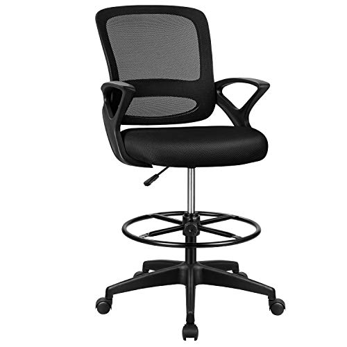 Tuoze Tall Office Chair Drafting Chair Standing Desk Chair Drafting Mesh Table Chair Adjustable Height with Lumbar Support, Armrest Footrest (Black)