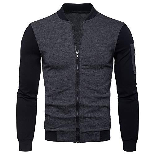 YINLAN Men's Leather Jacket Autumn Winter Windproof Warm Round Neck Slim Fit Full Zipper Cardigan Coat Tops Mens Casual Lightweight Long Sleeve Overjacket Outcoat Sweatshirt Sportwear Blouse