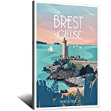 Brest-igieuse ! Phare Du Mnou Vintage-Reiseposter, Bild,