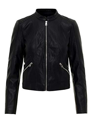 Vero Moda Vmkhloe Favo Faux Leather Jacket Noos Chaqueta, Negro (Black), 38 (Talla del fabricante: Small) para Mujer