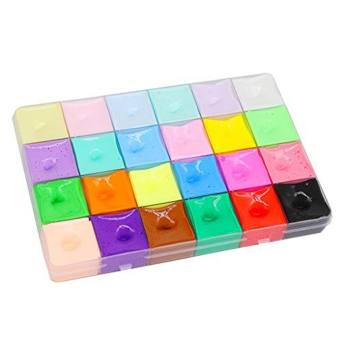 500ml Flauschige Schleim Stressabbau Spielzeug 24 Color DIY Fluffy Slime Schöner Farbwolken Slime Kitt Duftender Schlamm Spielzeug Ungiftig Sensorische Spielzeug Tolles Geschenk für Kinder Erwachsene