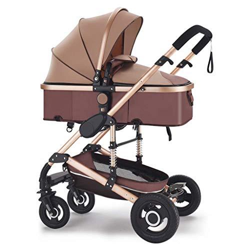 Cochecito de bebé Cochecito de bebé convertible compacto, cochecitos de bebé plegables, cochecito de cochecito de paseo alto con cesta de almacenamiento grande y portavasos para bebés y viaj
