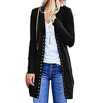 Long Cardigan Sweaters for Women,Women s Long Sleeve Snap Button Down Solid Color Knit Ribbed Neckline Cardigans  X1-Black 2XL