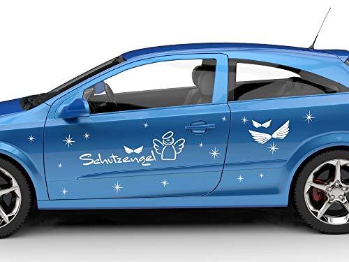 GrazDesign Autosticker, beschermengel, vleugels, sterren, autotattoosticker, cadeau 591, middernachtblauw