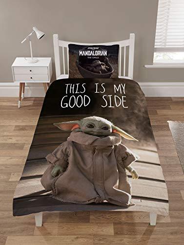 The Mandalorian Baby Yoda Bettbezug-Sets, Star Wars Bettwäsche, Einzel- und Doppelbett, Wendebettbezüge + Kissenbezüge, offizielles Mandalorian Merchandise, Star Wars Geschenke (Einzelbett-Bettwäsche)