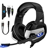 Mobestech Gaming Headset Gamer Casque Gaming Auriculares para computadora...