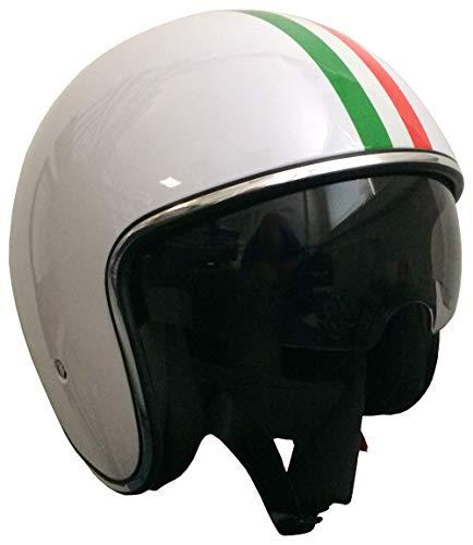 Jethelm Helm Motorradhelm Größe XL Rollerhelm mit Sonnenvisier RALLOX 588 Italia weiß
