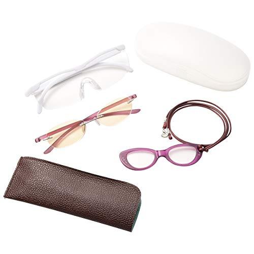 MIDI-ミディ メガネ型 ルーペ (拡大倍率 1.6倍) & ブルーライトカット 老眼鏡 (レンズ度数 +3.00) & ペンダント型ルーペ セット 老眼鏡とルーペを比べられる お手軽セット ホワイト (lp001c2,m106nc3,+3.00,pg0