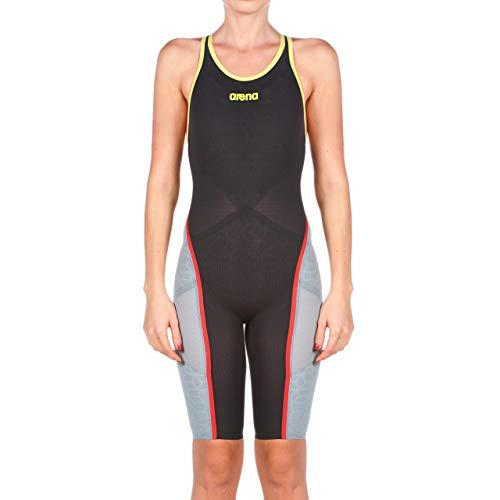 ARENA Powerskin Carbon Ultra - Costume da Bagno da Donna con Schiena Aperta, Colore: Grigio Scuro Giallo Fluo, 32