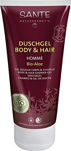 SANTE Naturkosmetik Homme Duschgel Body und Hair 2in1 Bio-Aloe für Männer, Anregend und vitalisierend, Pflanzliche Tenside, Vegan, 200 g