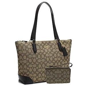 Fashion Shopping New Coach C Signature Purse Hand Bag & Wristlet Matching 2 Piece Set Khaki Brown