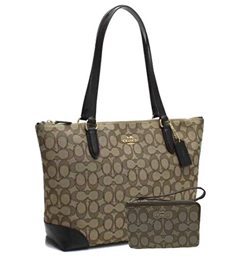 Fashion Shopping New Coach C Signature Purse Hand Bag & Wristlet Matching 2 Piece Set Khaki Brown