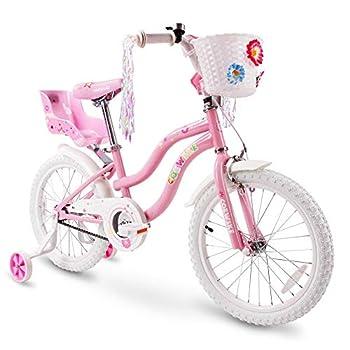 COEWSKE Kid s Bike Steel Frame Children Bicycle Little Princess Style 18 Inch with Training Wheel  Pink 18 Inch
