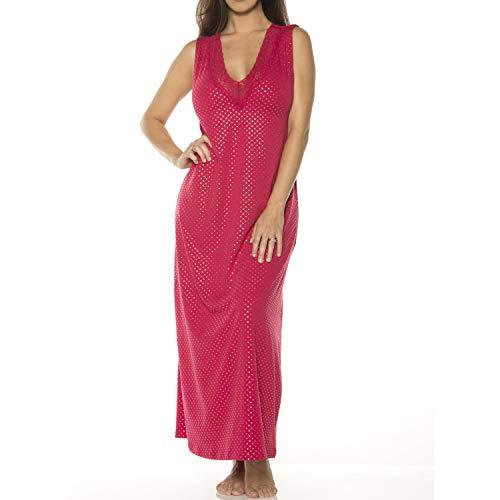 Ahh By Rhonda Shear womens Full Length Metallic Dot Printed Lace Neckline Gown with Shelf Bra, Red/Gold, Medium