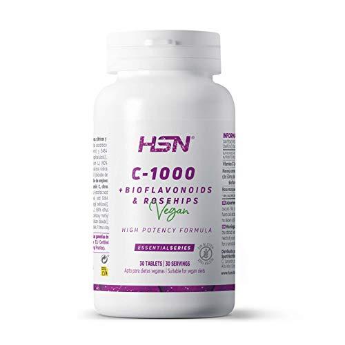 Vitamina C 1000mg de HSN | Suministro para 1 Mes | Con Bioflavonoides Cítricos + Rosa Mosqueta | Antioxidante + Colágeno + Absorción Hierro | Vegano, Sin Gluten, Sin Lactosa, 30 Tabletas