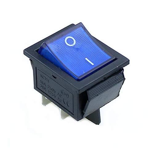 Yijiang Interruptor basculante 10 PCS Rocker Interruptor On-Off 2 Posición 4 Pines / 6 Pines Equipo eléctrico con Interruptor de alimentación Ligera 16A 250VAC / 20A 125VAC