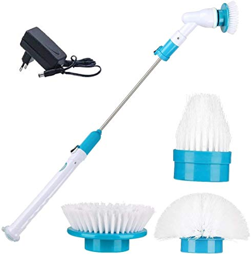 FosCadit Plastic Cordless Power Spin Scrubber Machine Floor Cleaning Bathroom Tiles Cleaner Tool with 3 Replaceable Brushes and Long Extension (Multicolor)