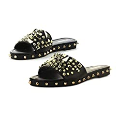 VERSATILE: Whether it be a summer celebration or early afternoon brunch, these sandals pair well with a sundress or t-shirt and jeans. EMBELLISHED with silver studs for a walk on the wild side. BOLD COLORS: Our slip-ons come in a wide range of colors...