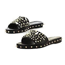Black Tonie Sandals Slide Studded Mules Slip On