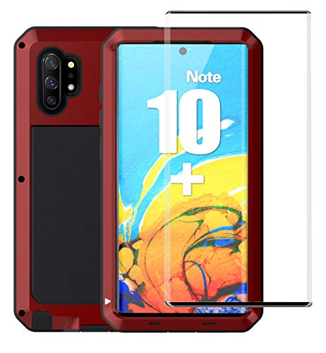 Ezanmull Galaxy Note 10 Plus / 10+ Case, Military Grade Drop Aluminum Metal Shockproof Protection Dual dust Rugged Tough Full Body Cover Cases for Samsung Galaxy Note 10 + / Note 10 Plus 5G (Red)